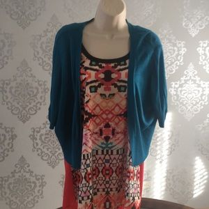 Teal crop cardigan with multi colored top
